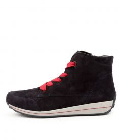 Osaka 33 Navy-red Suede