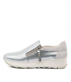 D GENDRY A SILVER WHITE LEATHER SUEDE