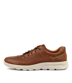 LETS WALK M PLAINTOE TAN LEATHER