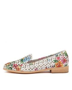 ANSON WHITE FLORAL LEATHER