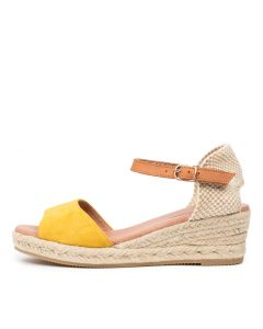 SUZY DJ YELLOW LT TAN SUEDE LEATHER