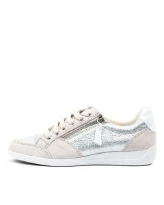 D MYRIA B SILVER WHITE LEATHER SUEDE