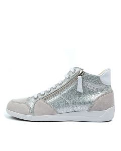D MYRIA C SILVER WHITE LEATHER SUEDE