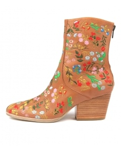 ARIGO DK TAN BRIGHT LEATHER EMBROIDERY